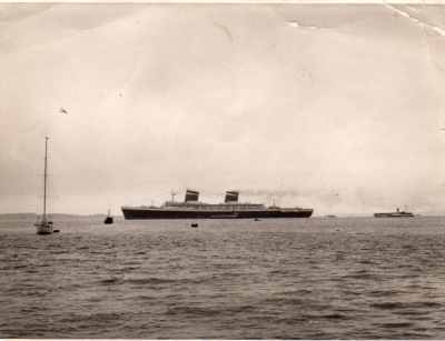 La France one of many sailing past Isle of Wight pre war.