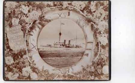 Christmas card from HMS.Philomel. Philomel, peal class. Third class cruiser. Scrapped before W.W.1 started but was transferred to N.Z. government in 1914 and served as an escort in the Indian Ocean and off the Syrian coast until 1917 when no longer used on active service.  She survived until 1949 spending most of her time as a base ship.