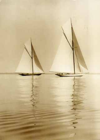 Two famous 30 metre racing yachts.  Shamrock 11 and White Heather.  My sad crewed on both.  I just like the picture. S.O.McK.