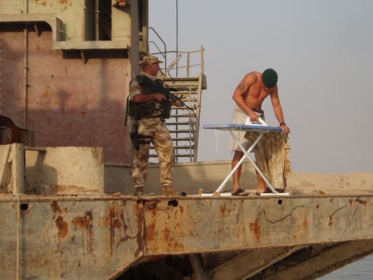 THE LENGTH THAT YOU HAVE TO GO TO DO YOUR IRONING IN IRAQ.