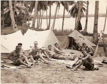 TAS MESS ON HMS SALISBURY, AWAY ON A TRIP WITH Canoes up the Malayan jungle, THEN made out way back to Singapore. Great trip still terrorists in the3 jungle.