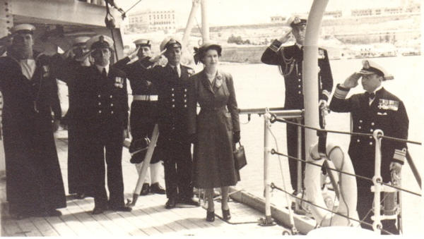 HMQueen and Prince Philip boarding a ship in Grand Harbour.
