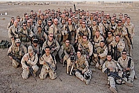 Delta Company of the US army get their troop photo taken before heading out into the desert chasing the terrorists