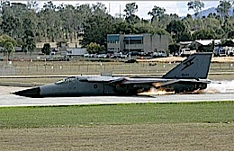 F111 doing a spectacular and safe belly landing.