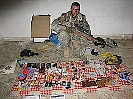 Look what I found a small cache of ammunition and weapons.