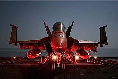 NIGHT TIME, SUPER HORNET READYING FOR AN ATTACK.