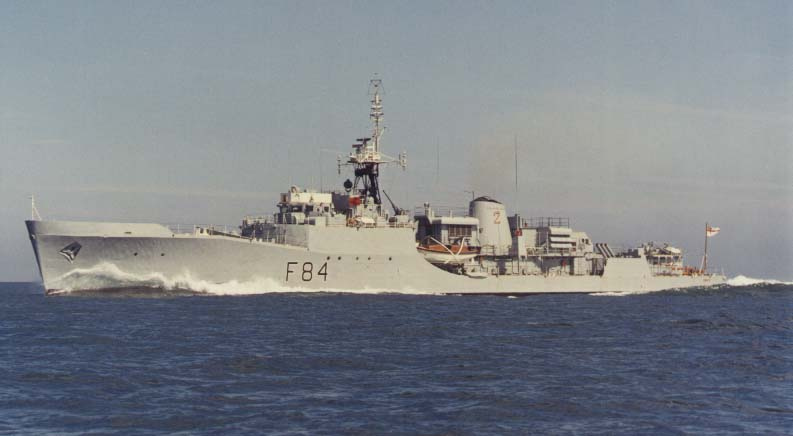 HMS EXMOUTH IS SEEN HERE DOING TRIALS IN THE MEDITERANIAN, WITH THE MED FLEET.