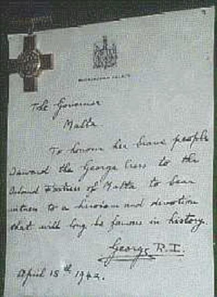 THIS IS THE ACTUAL LETTER THAT KING GEORGE THE V1 SENT TO THE ISLAND AND THE PEOPLE OF MALTA, FOR THEIR OUTSTANDING BRAVERY, AND IN RECOGNITION TO BRITAIN, WHEN HE AWARDED THE GEORG CROSS TO THE PEOPLE AND THE ISLAND.