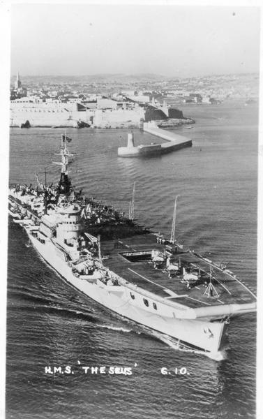 HMS THEASEUS SEEN HERE TURNING IN GRAND HARBOUR MALTA, A LOVELY SHOT.