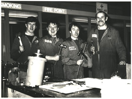 Just after GEF moved from the Rock Hanger to the new building. L to R - Me, Terry McDevitt, Billy Lewthwaite and Mark Waik