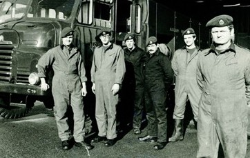 Firemans Strike of 1977. Our Fitters course, 32 Gen Tech GSE, was interrupted and we spent the strike in the Territorial Army Barracks in Pontypridd. What a laugh. L to R - Lee Beaumont, Larry Rimmington, Me, Bob Burg, Ray Coghill and someone I can